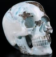 "GEMSTONE 4.9"" Larimar Carved Crystal Skull, Super Realistic, Crystal Healing"
