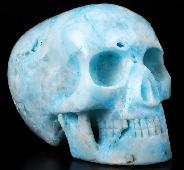 "5.1"" Blue Aragonite Carved Crystal MH Skull Replicas, Healing"