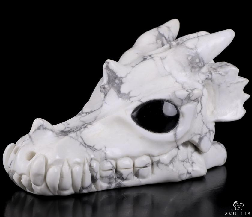 Howlite Crystal Dragon Skull