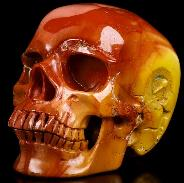 "5.9"" Colorful Mookaite Jasper Carved Crystal Skull, Super Realistic, Crystal Healing"
