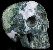 "5.0"" Green Moss Agate Carved Crystal MH Skull Replicas, Crystal Healing"
