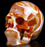 "Nice 3.7"" Agate Carved Crystal Skull,Super Realistic, Crystal Healing"