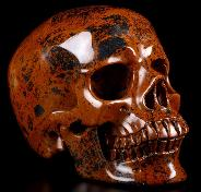 "Huge 5.4"" Mahogany Obsidian Carved Crystal Skull, Super Realistic, Crystal Healing"