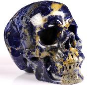 "5.3"" Sodalite Carved Crystal Skull, Super Realistic, Crystal Healing"