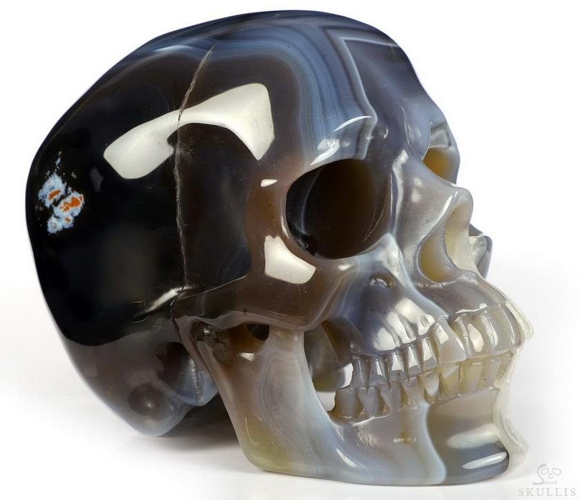 Gray & White Agate Crystal Skull