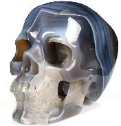 "5.3"" Gray & White Agate Carved Crystal Skull, Super Realistic, Crystal Healing"