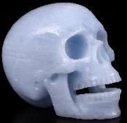 "5.0"" Blue Calcite Carved Crystal Singing Skull, Crystal Healing"