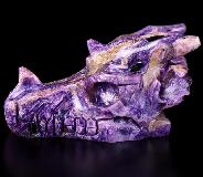 "GEMSTONE 3.1"" Russian Charoite Carved Crystal Dragon Skull, Crystal Healing"