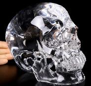 "Lifesized 6.7"" K9 CRYSTAL Carved Crystal Skull, Super Realistic, Crystal Healing"