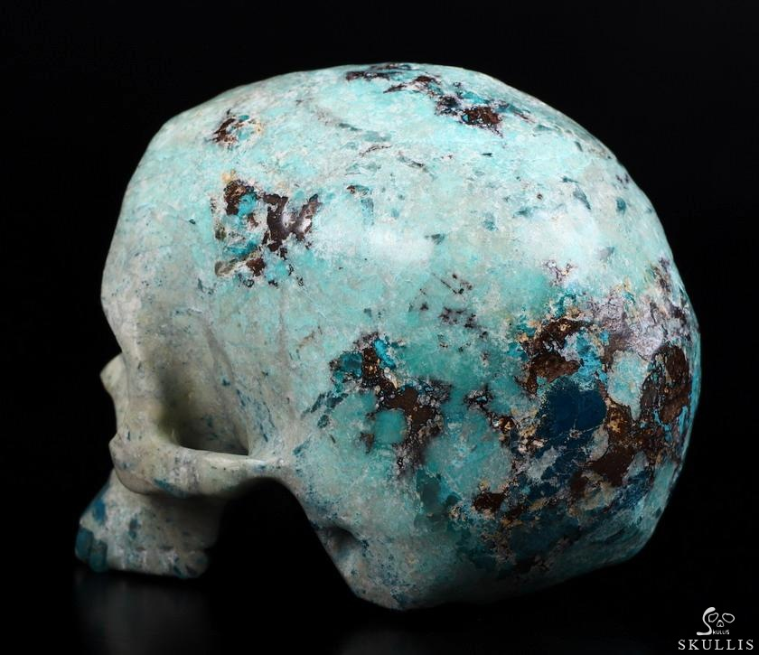 American Chrysocolla Crystal Detachable Skull