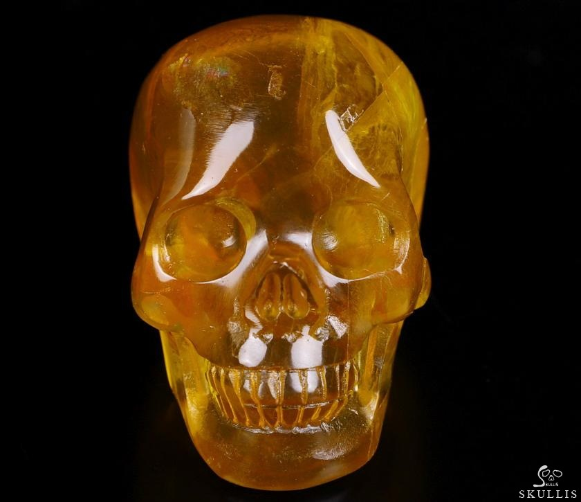 Orange Fluorite Crystal Skull