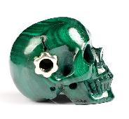 "Gemstone 1.2"" Malachite Carved Crystal Skull Pendant With Sterling Silver Hole, Crystal Healing"