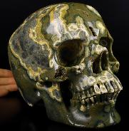 "Lifesized 7.8"" Ocean Jasper Carved Crystal Skull,Super Realistic, Crystal Healing"