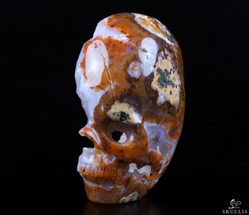 Empire Red Agate Geode Crystal Skull