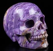 "Gemstone 2.1"" Russian Charoite Carved Crystal Skull, Realistic, Crystal Healing"