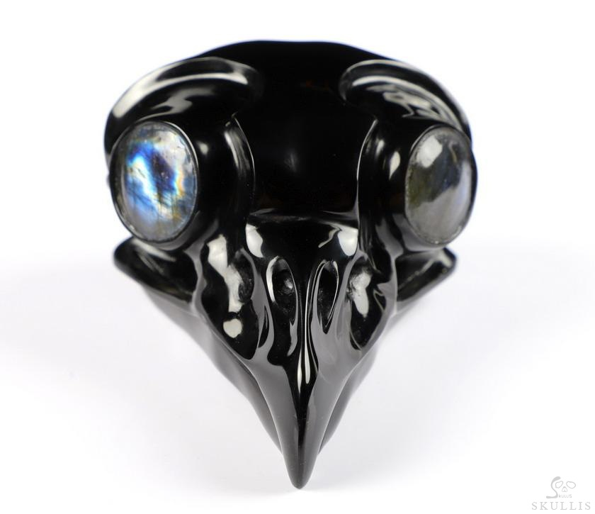 Black Obsidian Crystal Owl Skull With Labradorite Eyes