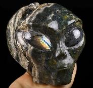"Huge 4.3"" Ocean Jasper Carved Crystal Female Alien Skull & Labradorite Eyes, Crystal Healing"