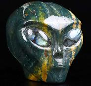 "GEMSTONE 4.2"" Bloodstone Carved Crystal Female Alien Skull, Labradorite Eyes, Crystal Healing"