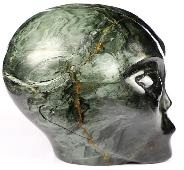 "4.1"" Hawk's Eye Carved Crystal Female Alien Skull, Crystal Healing"