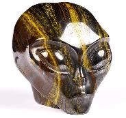 "2.0"" Colorful Tiger Iron Eye Carved Crystal Female Alien Skull, Crystal Healing"