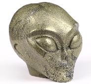 "2.0"" Pyrite Carved Crystal Female Alien Skull, Crystal Healing"