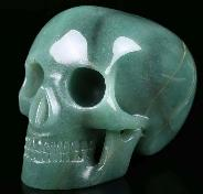 "5.2"" Green Aventurine Carved Crystal Mitchell-Hedges Crystal Skull Replica, Skull of Doom, Crystal Healing"
