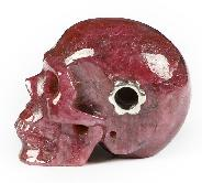 "Gemstone 1.2"" Ruby Carved Crystal Skull Without Sterling Silver Hole, Realistic, Crystal Healing"