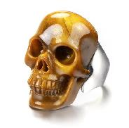 Fine Gemstone US # 11 Gold Tiger Eye Carved Crystal Skull Ring, Crystal Healing