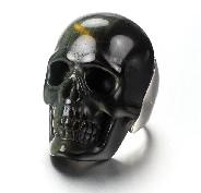 Gemstone US #8 Blue & Gold Tiger Eye Carved Crystal Skull Ring, Crystal Healing