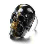 Nice US #7.5 Blue & Gold Tiger Eye Carved Crystal Skull Ring, Crystal Healing
