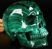 "Amazing 6.0"" Malachite Carved Crystal Skull,Super Realistic, Crystal Healing"
