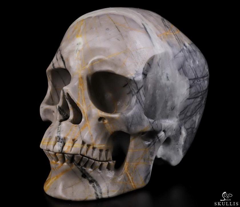 """Huge 4.8"""" Picasso Jasper Carved Crystal Skull,Super ..."""