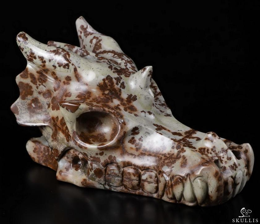 Chinese Painting Stone Crystal Dragon Skull