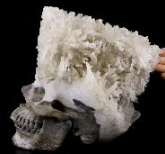 "Amazing Giant 8.7"" Quartz Rock Crystal Druse Carved Crystal Skull Sculpture, Super Realistic, Crystal Healing"