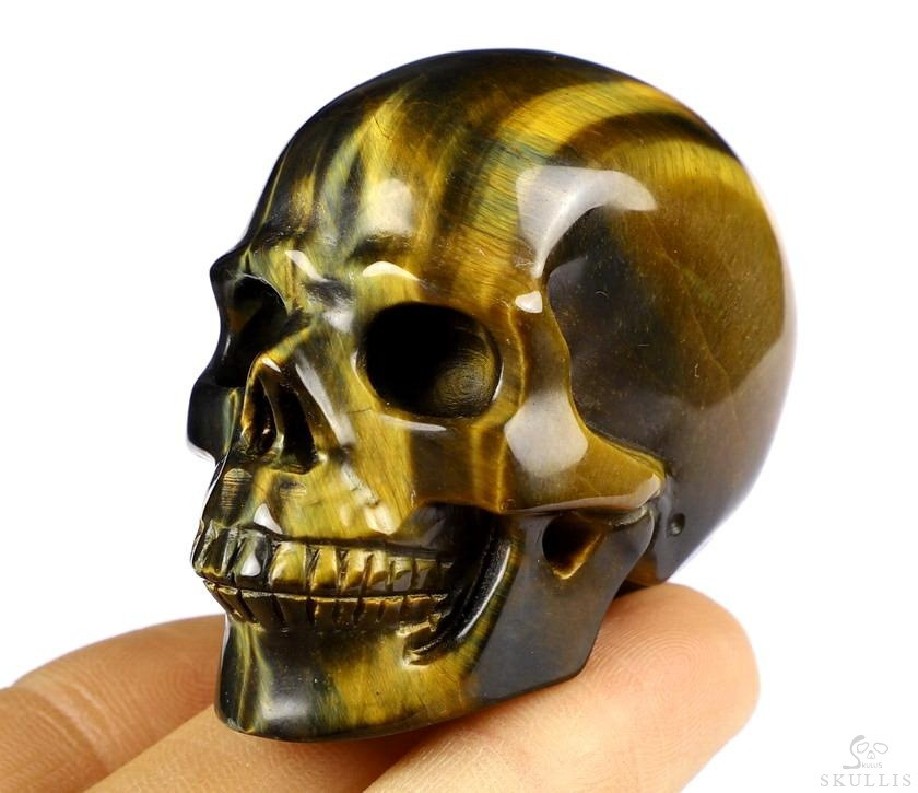 Blue & Gold Tiger's Eye Crystal Skull
