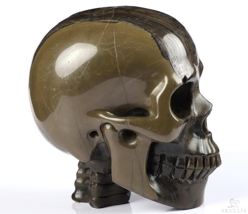 Coffee Stone Crystal Skull With Spine