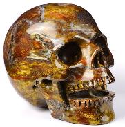 "Gemstone 5.1"" Blue, Gold & Red Pietersite Carved Crystal Singing Skull, Crystal Healing"