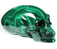 "Gemstone 7.6"" Malachite Carved Crystal Elongated Mayan Alien Skull, Kingdom of Crystal Skulls, Crystal Healing"