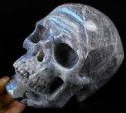 "Lifesized Flash 7.0"" Labradorite Carved Crystal Skull,Super Realistic, Crystal Healing"