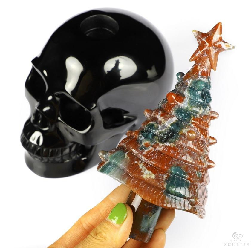 Black Obsidian Crystal Skull With Removable Indian Agate Christmas Tree Sculpture