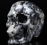 "Nice 4.8"" Black Tourmaline Carved Crystal Skull,Super Realistic, Crystal Healing"