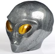 "4.3"" Hematite Carved Crystal Female Alien Skull, Tiger Eye Eyes, Crystal Healing"