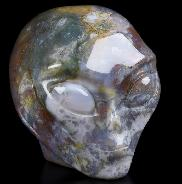 "2.0"" Indian Agate Carved Crystal Female Alien Skull, Crystal Healing"