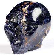 "Nice 2.0"" Sodalite Carved Crystal Female Alien Skull, Crystal Healing"