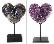 "Special Design for Valentine's Day - 7.0"" Amethyst & Agate Geode Carved Crystal Skul Lover Skull Sculpture, Crystal Healing"