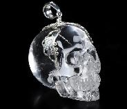 "Nice 1.4"" Quartz Rock Crystal Carved Crystal Skull Pendant, with Sterling Silver"