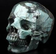 "GEMSTONE 5.2"" Emerald Carved Crystal Skull,Super Realistic, Crystal Healing"