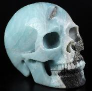 "Huge 5.0"" Chinese Amazonite Carved Crystal Skull, Realistic, Crystal Healing"
