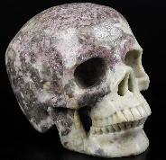 "GEMSTONE 5.0"" Lepidolite Carved Crystal Skull,Super Realistic, Crystal Healing"