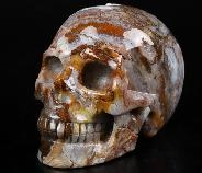 "GEMSTONE 3.5"" Red Crazy Lace Agate Carved Crystal Skull, Realistic, Crystal Healing"
